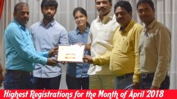 highest registrations for the month of april 2018 in new branch maddilapalem